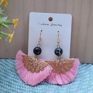 Pink Tassel Decorated Earrings